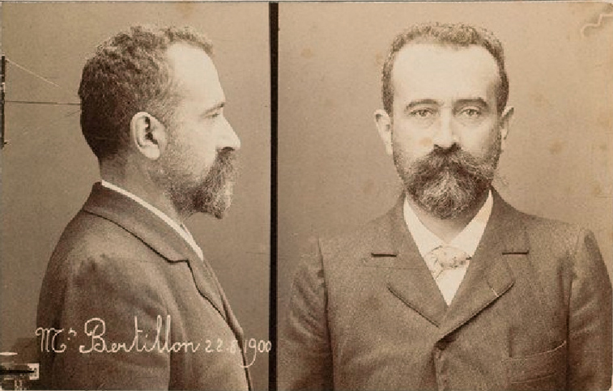 Alphonse Bertillon: self-portrait  for the Bertillon photo-card identity system 1883
