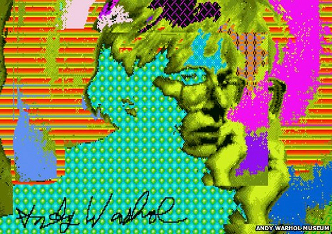 Andy Warhol: Self-Portrait on Amiga Paintbox 1982